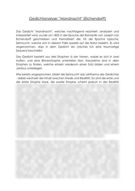 Mondnacht eichendorff analyse