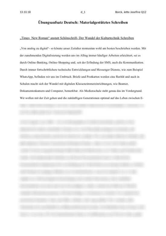 Materialgestutztes Schreiben Zum Thema Lost Das Tippen Die Handschrift Ab Aufsatz