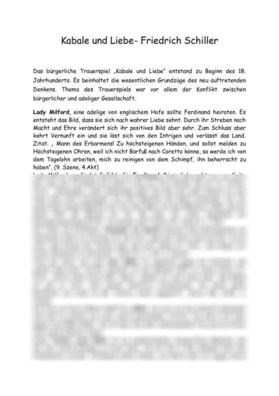 Kabale Und Liebe Von Friedrich Schiller Inhaltsangabe Und Kurze
