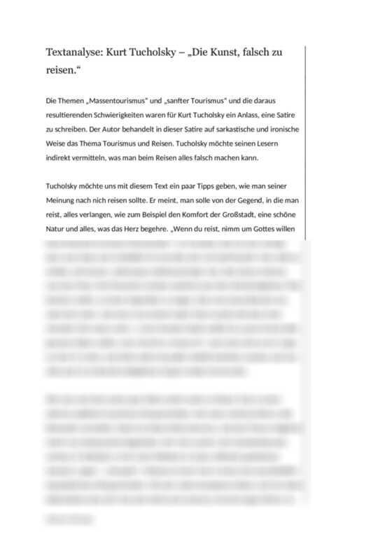 Textanalyse Kurt Tucholsky Die Kunst Falsch Zu Reisen Textanalyse