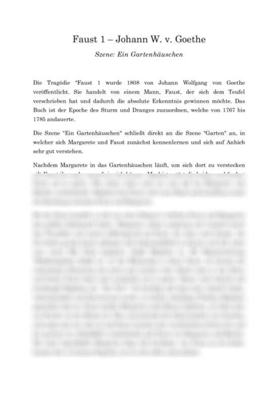 Faust 1 Von Goethe Szenenanalyse Ein Gartenhauschen Interpretation