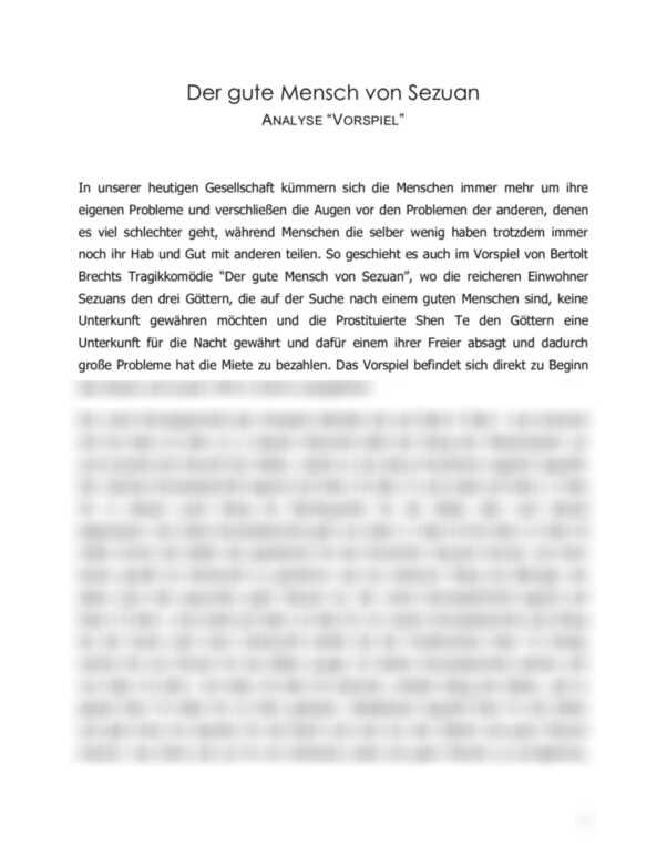 Der gute Mensch von Sezuan: Szenenanalyse des Vorspiels