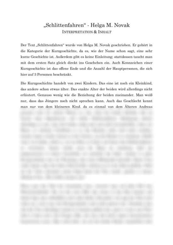 Schlittenfahren von Helga M. Novak - Interpretation