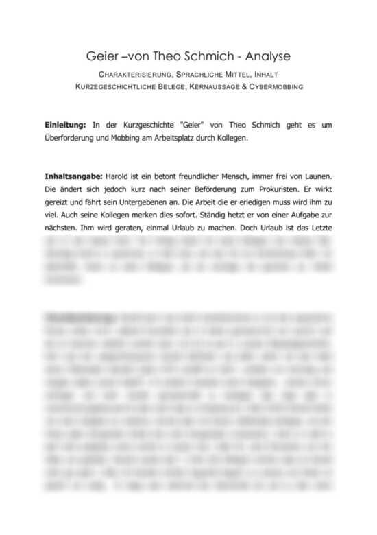 Vorschaubilder: Analyse der Kurzgeschichte ´Geier´ von