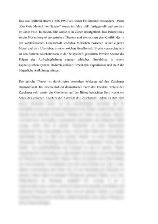 Von sezuan der gute analyse 5 mensch szene German Literature