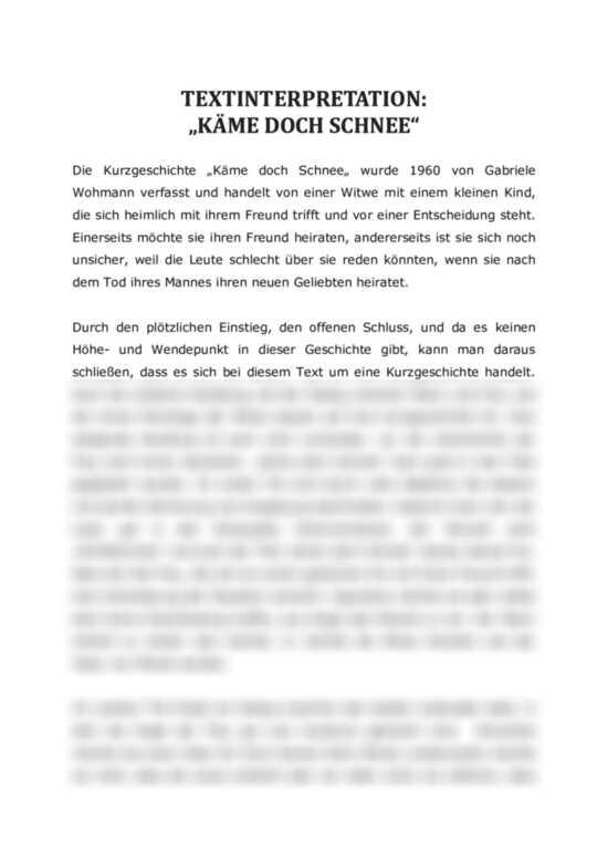 Analysen: Käme doch Schnee von Gabriele Wohmann. Mehrere