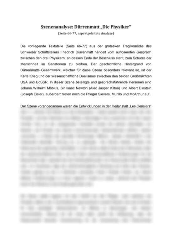 Szenenanalyse Durrenmatt Die Physiker Gesprache Zwischen Wilhelm Mobius Sir Isaac Newton Und Albert Einstein Hausubung
