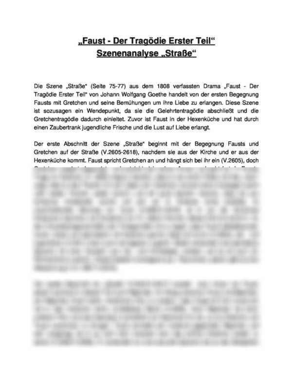 Szenenanalyse Strasse Aus Faust I Von Johann Wolfgang Von Goethe Interpretation