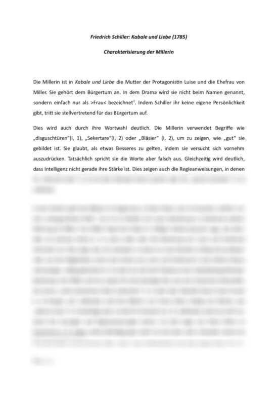 Kabale Und Liebe Charakterisierung Der Millerin Interpretation