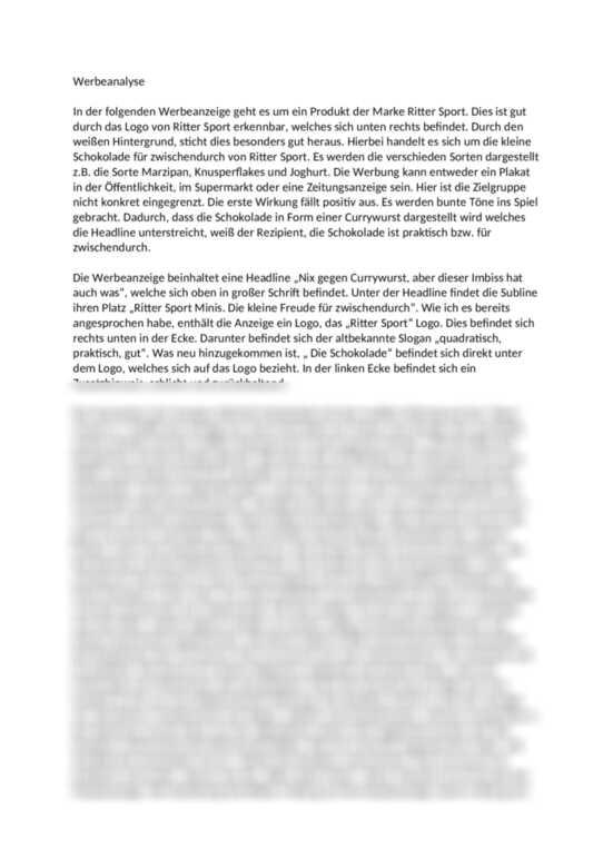 Komplette Werbeanalyse Zur Marke Ritter Sport Textanalyse