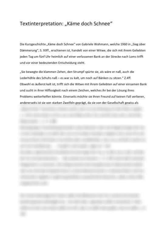 Käme doch Schnee: Textinterpretation - Textanalyse