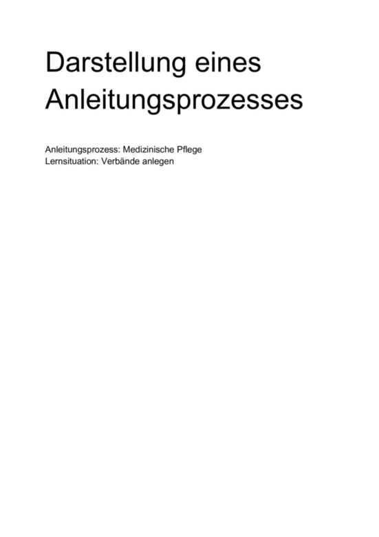 Einsendeaufgabe Darstellung Eines Anleitungsprozesses Medizinische Pflege Lernsituation Verbande Anlegen Studienleistung Muster Losung
