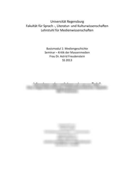 Liste der Seminararbeiten: Kommunikation / Medien
