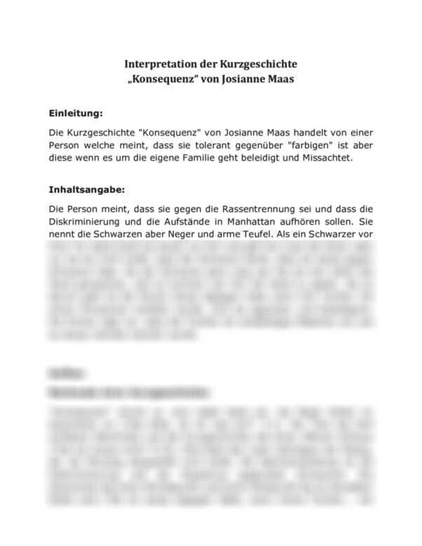 kurzgeschichte interpretation