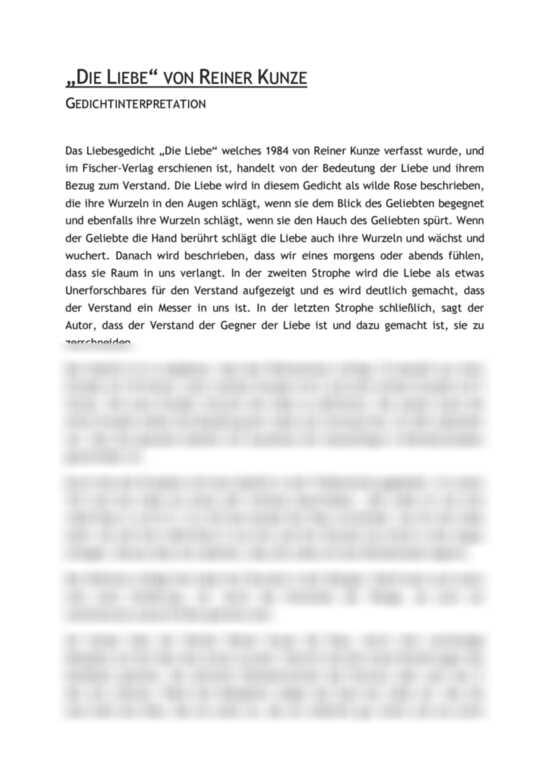 Die Liebe von Rainer Kunze - Gedichtinterpretation