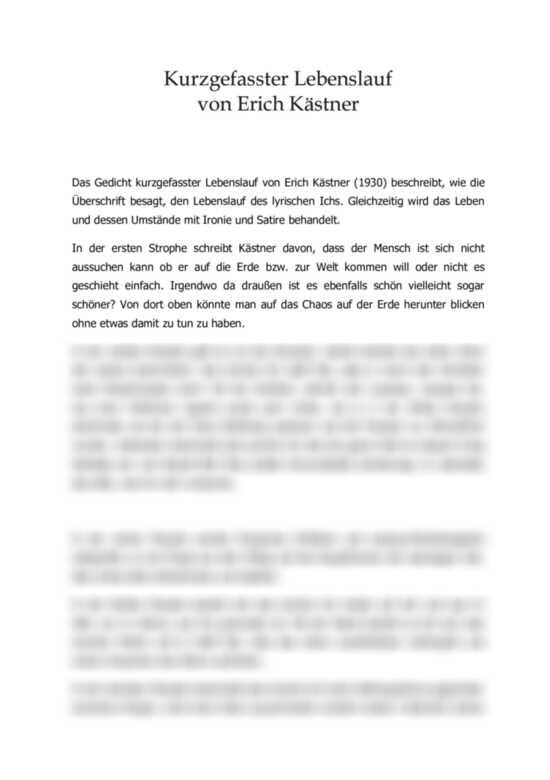 Interpretation: Kurzgefasster Lebenslauf von Erich Kästner