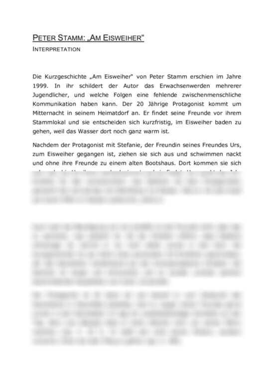 Interpreation Der Kurzgeschichte Erinnerungsangebote 15