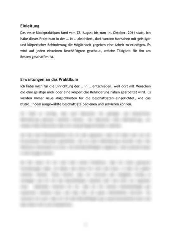 Praktikumsbericht Soziale Arbeit In Einer Behindertenwerkstatt Tagesablauf Reflexion Und Aufgaben Praktikumsbericht