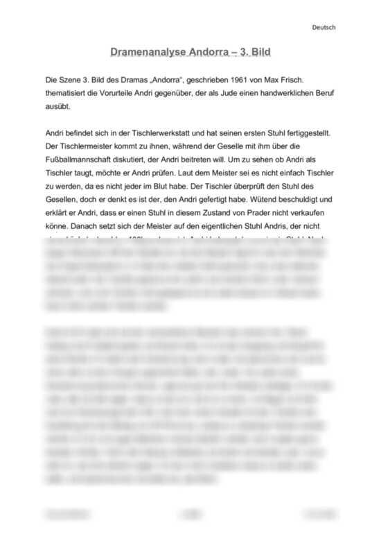 Dramaanalyse: Andorra von Max Frisch. 3. Akt - Interpretation