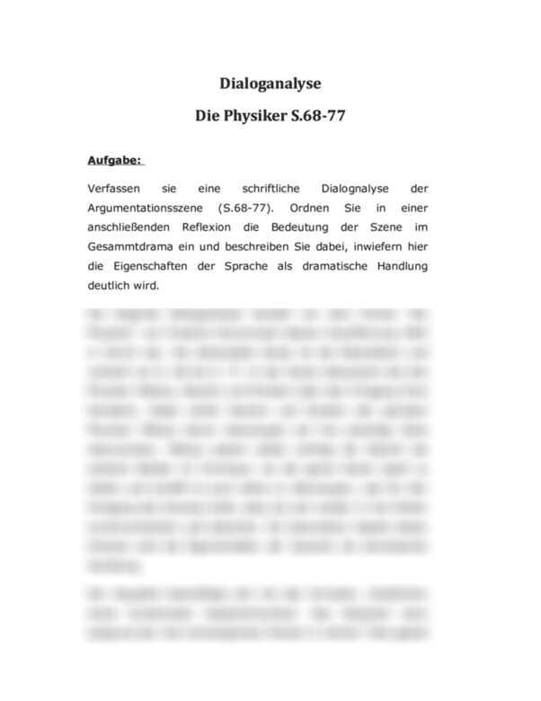 Dialoganalyse Die Physiker Von Friedrich