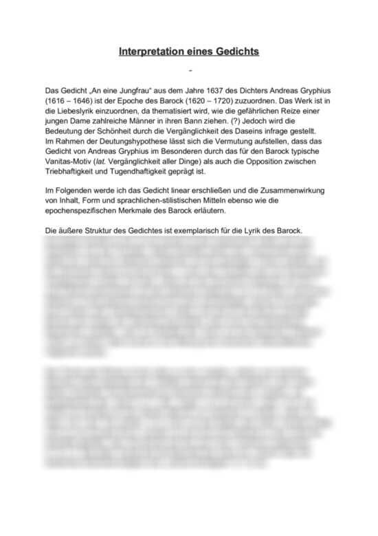 Analysen des Gedichts An eine Jungfrau von Andreas Gryphius