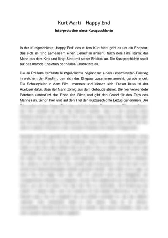 Kurt Marti - Happy End - Interpretation einer