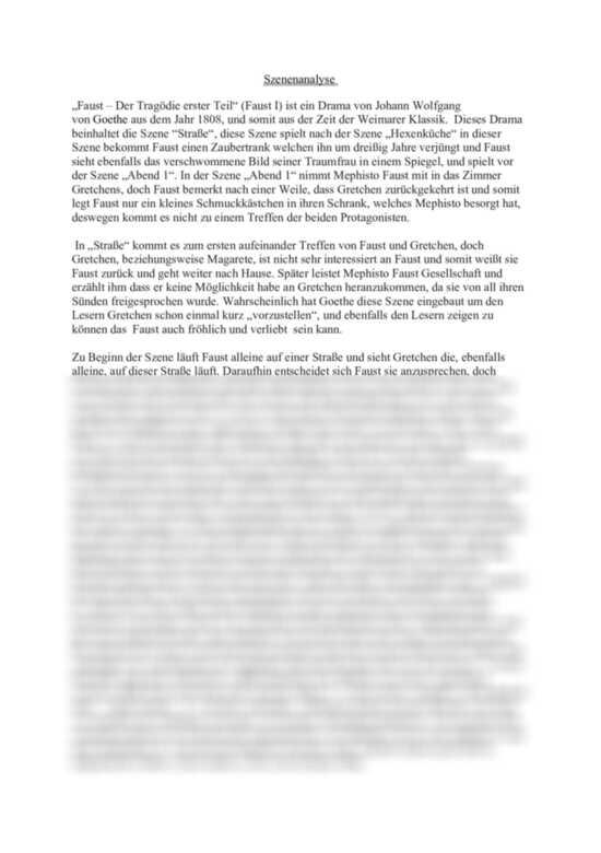 Szenenanalyse Strasse Aus Faust Die Tragodie Erster Teil Johann Wolfgang Von Goethe Textanalyse