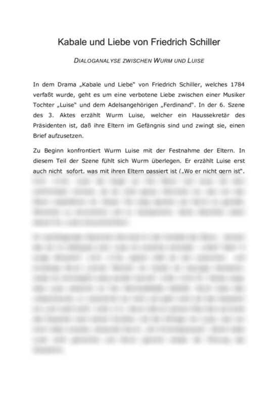 Kabale Und Liebe 3 Akt 6 Szene Dialoganalyse Zwischen Wurm Und