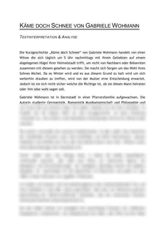 Käme doch Schnee von Gabriele Wohmann - Textinterpretation