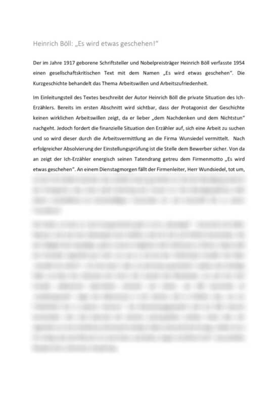 Heinrich Böll: Es wird etwas geschehen! - Interpretation