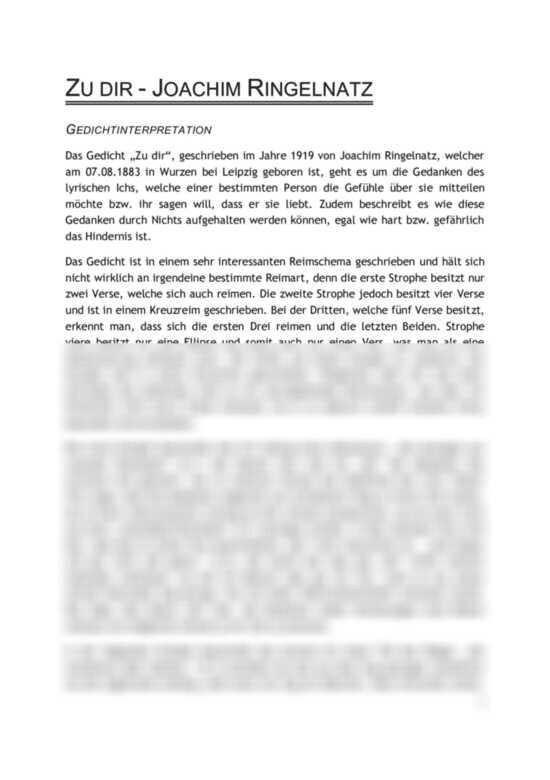 Vorschaubilder: Gedichtinterpretation: Zu dir von Joachim