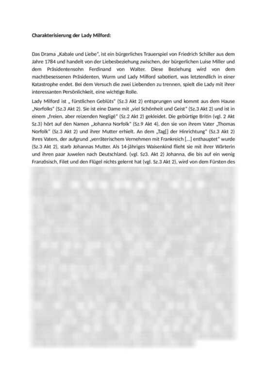 Charakterisierung Der Lady Milford Kabale Und Liebe Friedrich