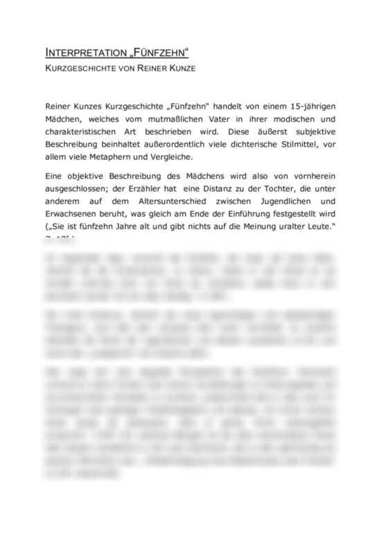 ´Fünfzehn´ von Reiner Kunze - Interpretation der