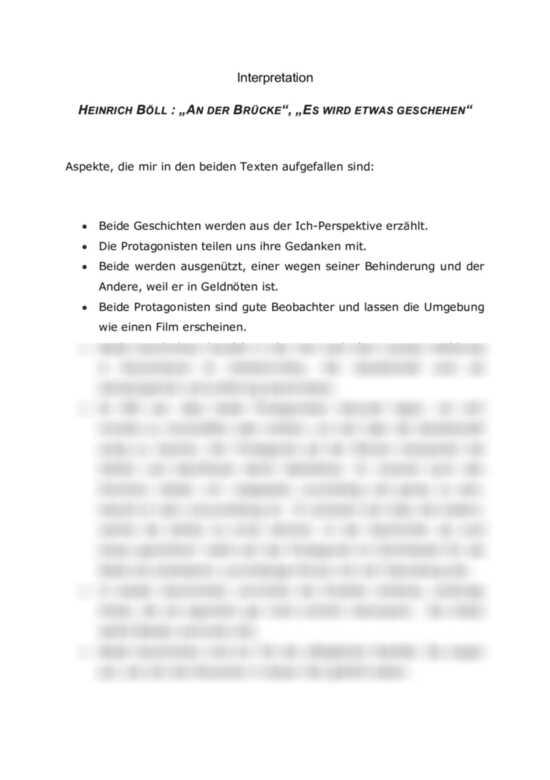 Interpretation, Heinrich Böll: An der Brücke- Es wird