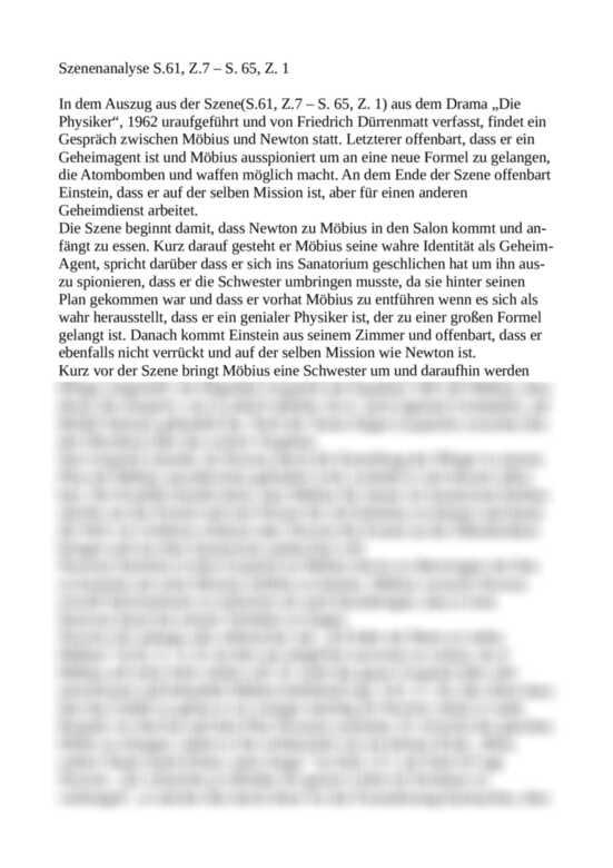 Szenenanalyse Die Physiker - S. 61 bis 65 - Gespräch