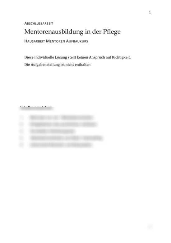 Einsendeaufgabe Praxisanleiter Abschlussarbeit Mentoren Aufbaukurs Mentorenausbildung In Der Pflege Studienleistung Muster Losung