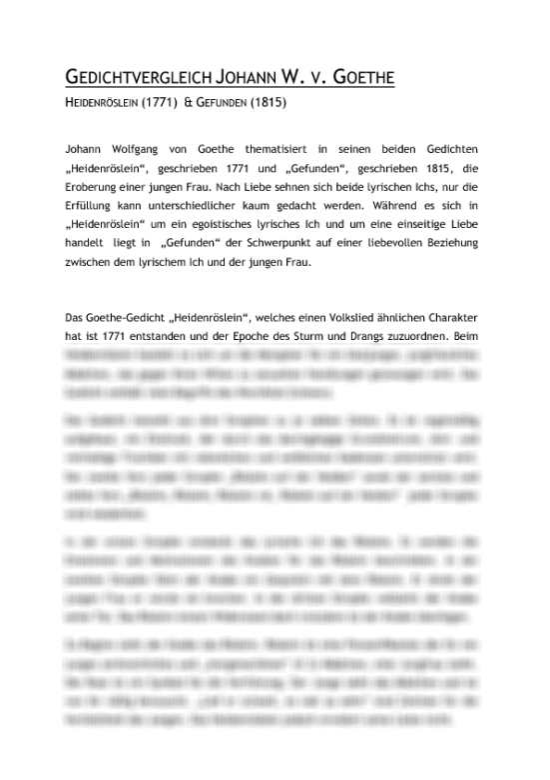 Gedichtvergleich Heidenroslein 1771 Und Gefunden 1815 Von Johann Wolfgang Von Goethe Interpretation