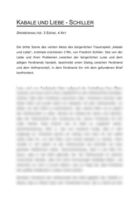 Dramenanalyse Kabale Und Liebe 3 Szene 4 Akt Friedrich
