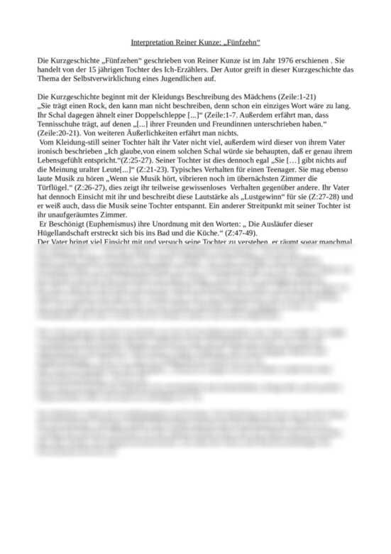 15 von Reiner Kunze Interpretation - Aufsatz