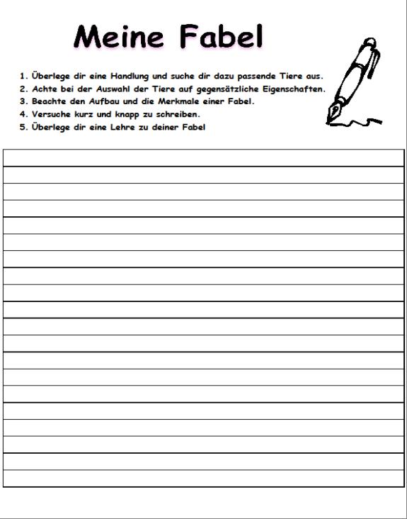 Lehrprobe Wir Schreiben Unsere Eigene Fabel